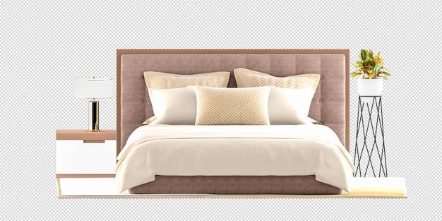 Maquete de cama, mesa, abajur e planta em renderização 3d isolada Psd Premium
