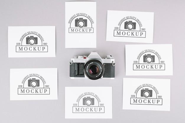 Maquete de câmera fotográfica de vista superior Psd Premium
