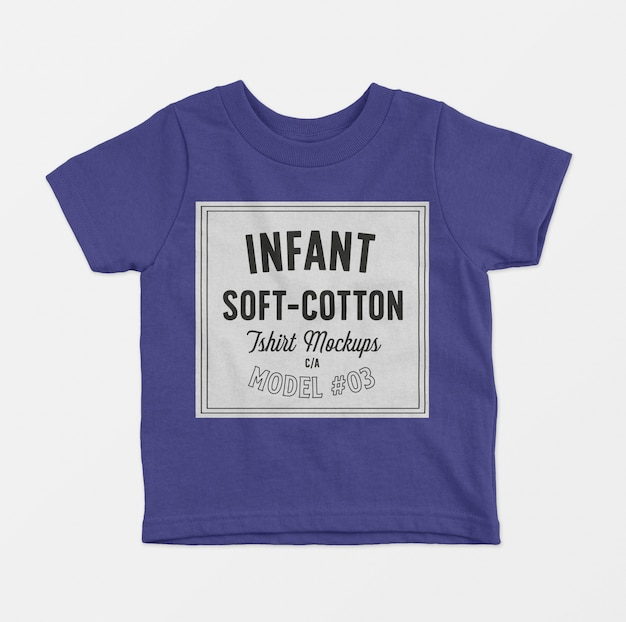 Maquete de camisetas de algodão macio infantil 03 Psd grátis