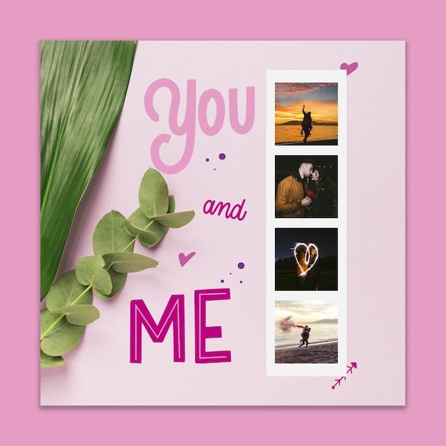 Maquete de capa de dia dos namorados com imagem Psd grátis