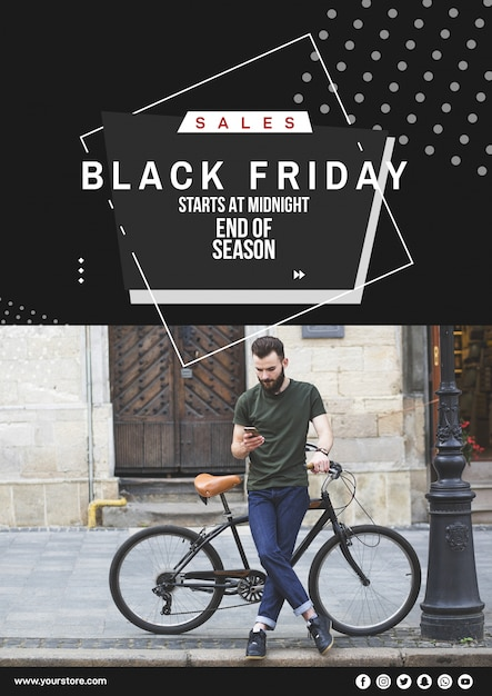 Maquete de capa de sexta-feira negra com imagem Psd grátis