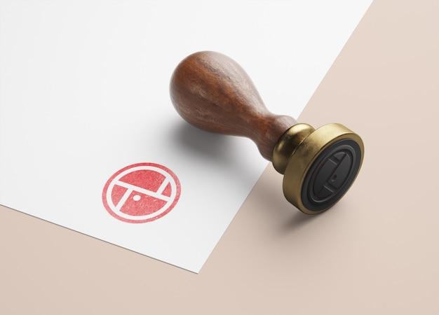 Maquete de carimbo de madeira Psd Premium