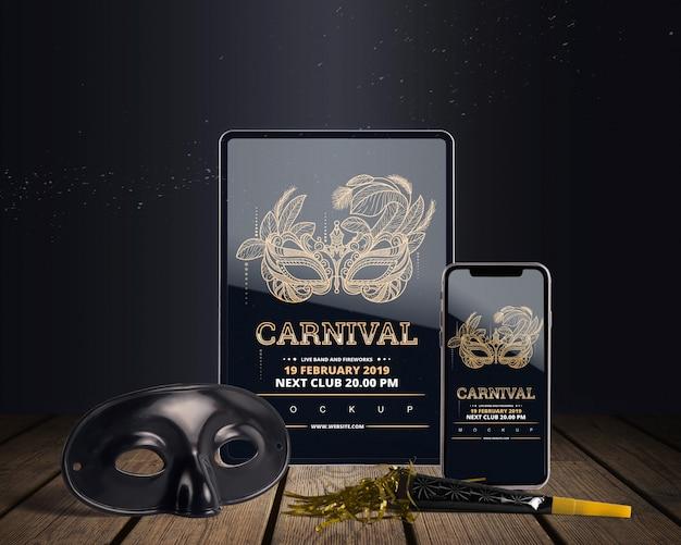 Maquete de carnaval vista superior com objetos editáveis Psd grátis