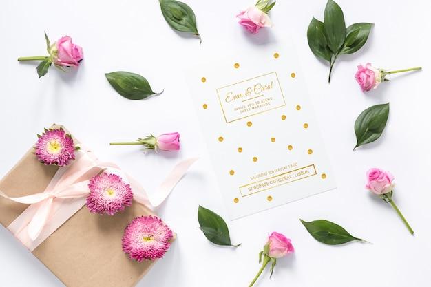 Maquete de cartão com conceito de casamento Psd grátis