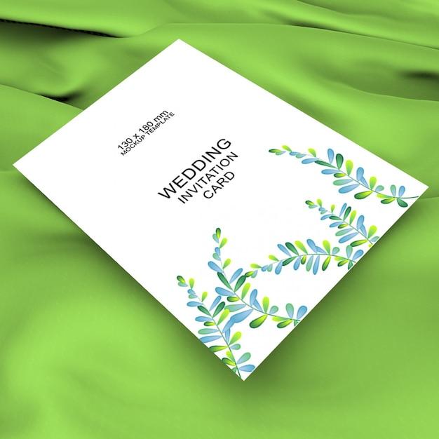Maquete de cartão de convite de casamento bonito Psd Premium