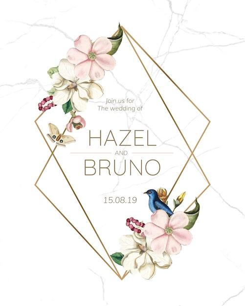 Maquete de cartão de convite de casamento flora Psd grátis