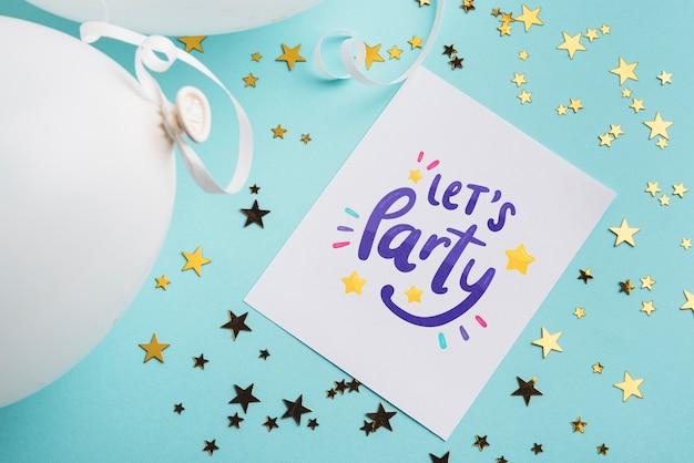 Maquete de cartão de convite de festa Psd grátis