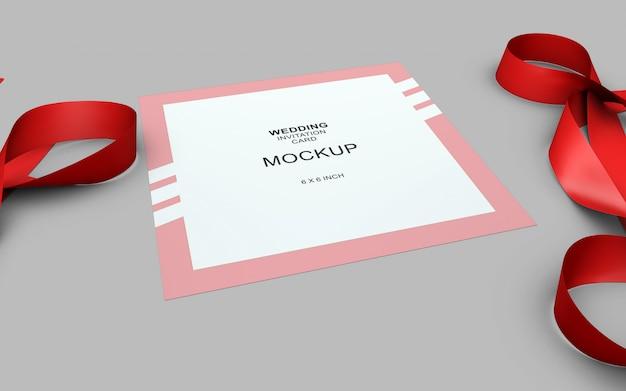 Maquete de cartão de convite linda weding Psd Premium