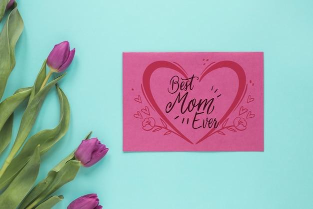 Maquete de cartão de dia das mães com flores Psd grátis