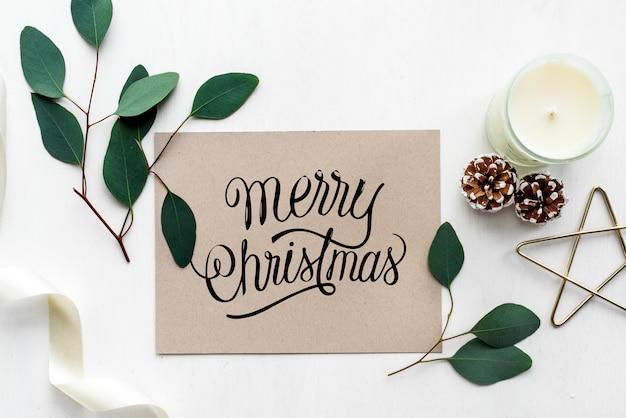 Maquete de cartão de feliz natal Psd grátis