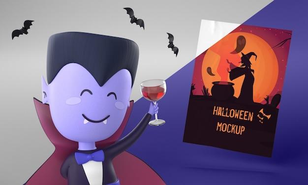 Maquete de cartão de halloween com vampiro sorridente Psd grátis