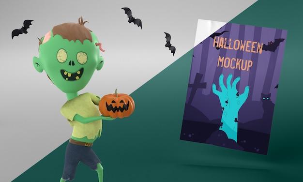Maquete de cartão de halloween com zumbi segurando uma abóbora Psd grátis