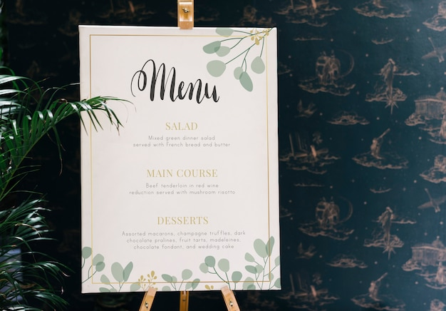 Maquete de cartão de menu do restaurante hoje Psd Premium