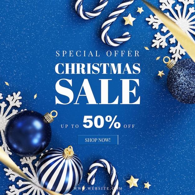 Maquete de cartão de natal com decoração Psd Premium