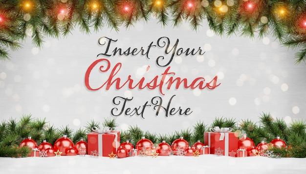 Maquete de cartão de natal com enfeites de texto e vermelho Psd Premium