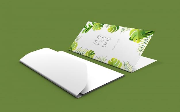 Maquete de cartão de natureza de casamento Psd Premium
