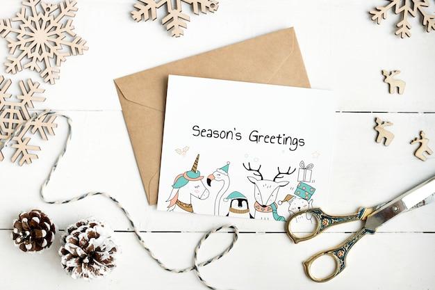 Maquete de cartão de saudações de temporadas bonito Psd grátis