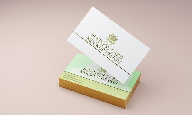 Maquete de cartão de visita com bordas douradas Psd Premium