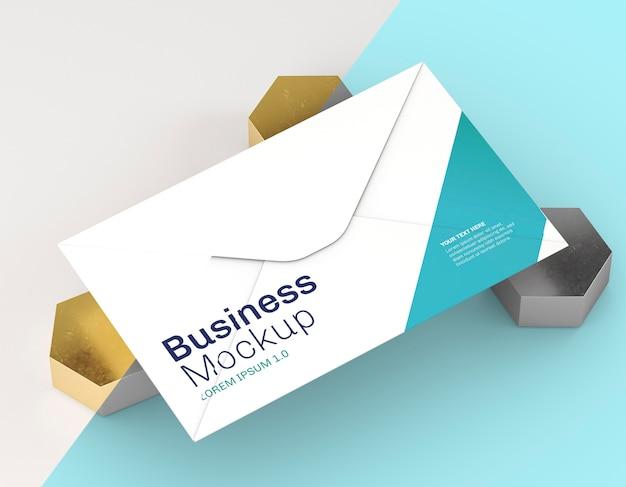 Maquete de cartão de visita em fundo azul e branco Psd Premium
