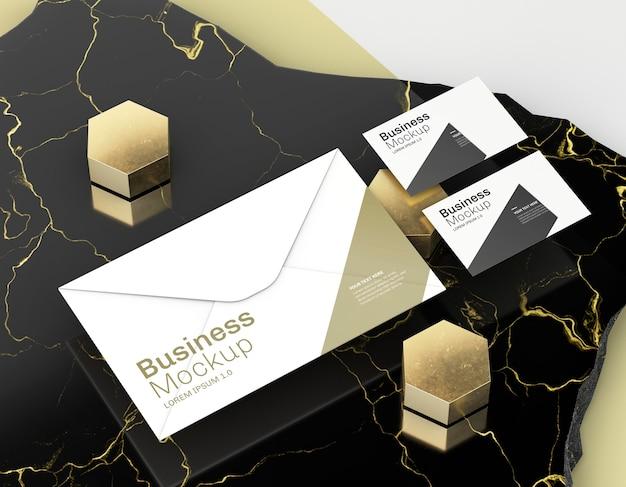 Maquete de cartão de visita em pedra de mármore elegante Psd Premium