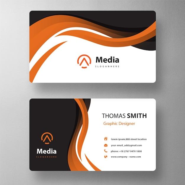 Maquete de cartão de visita laranja ondulado Psd grátis