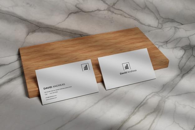 Maquete de cartão de visita moderno em madeira Psd Premium