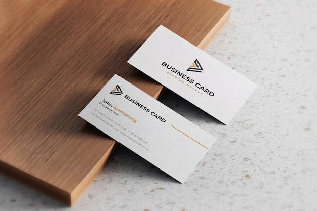 Maquete de cartão de visita realista com textura branca Psd Premium