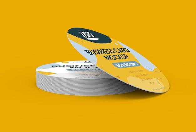 Maquete de cartão de visita redondo em renderização 3d Psd Premium