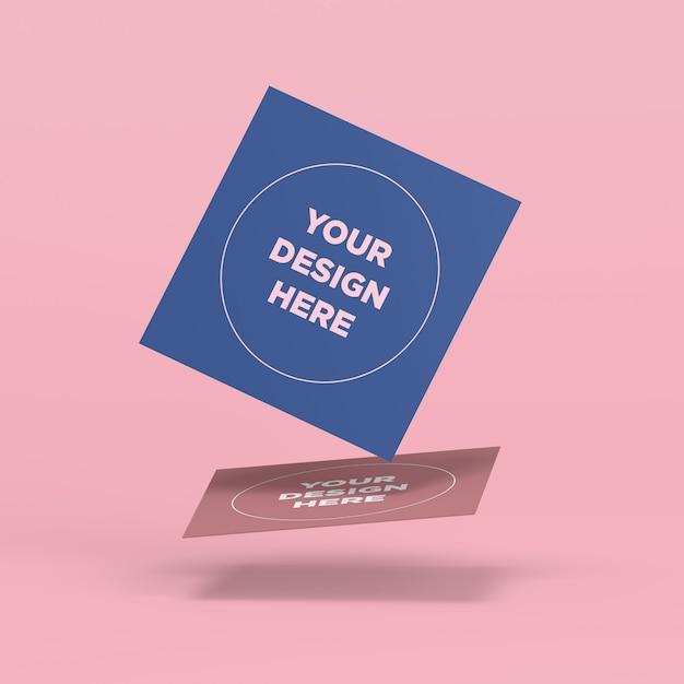 Maquete de cartas quadradas voadoras Psd Premium