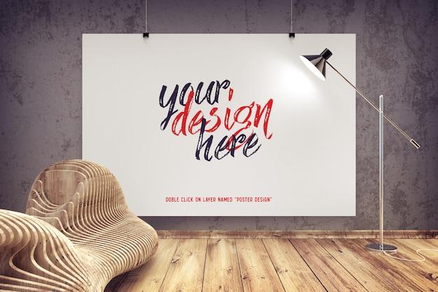 Maquete de cartaz pendurado em um interior moderno Psd grátis
