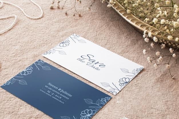 Maquete de cartões de casamento Psd grátis