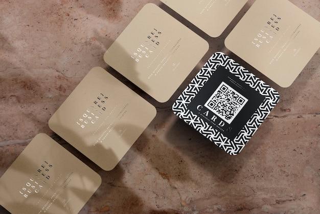 Maquete de cartões de visita quadrados com cantos arredondados Psd grátis