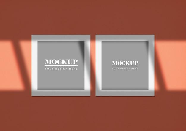 Maquete de cartões quadrados duplos com sombra elegante Psd grátis