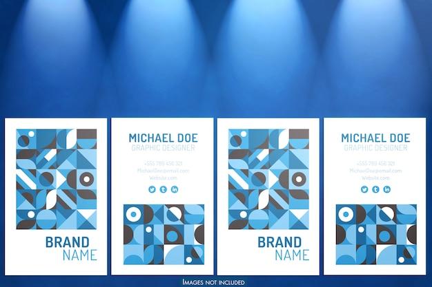 Maquete de cartões verticais com luzes azuis suaves no projetor Psd Premium