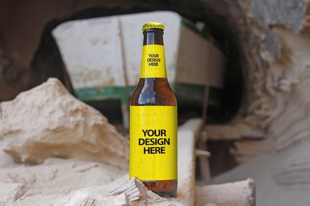 Maquete de cerveja de caverna de barco Psd Premium