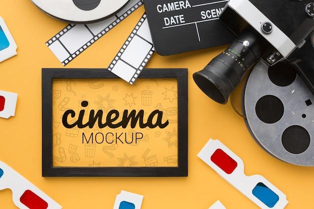 Maquete de cinema em quadro e adereços Psd grátis