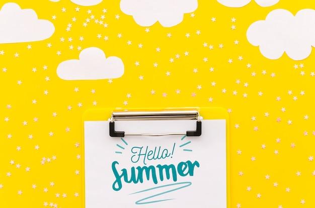 Maquete de cliupboard lay plana para conceitos de verão Psd grátis