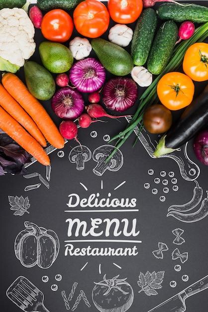 Maquete de comida saudável com copyspace Psd grátis