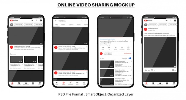 Maquete de compartilhamento de vídeo on-line do youtube no smartphone Psd Premium