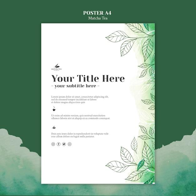 Maquete de conceito de cartaz de chá matcha Psd grátis