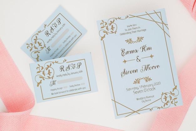 Maquete de conceito de casamento lindo Psd Premium