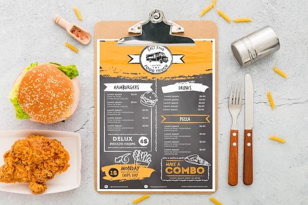 Maquete de conceito de menu de restaurante Psd Premium