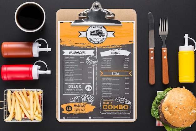 Maquete de conceito de menu de restaurante Psd grátis