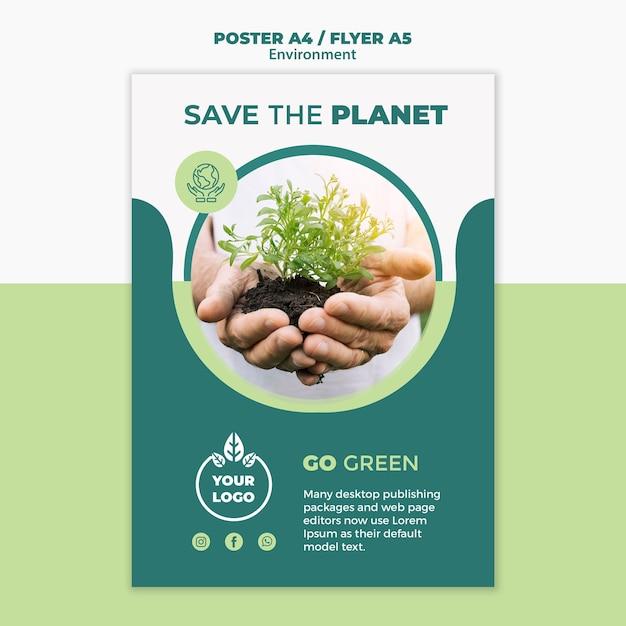 Maquete de conceito de panfleto de ambiente Psd grátis