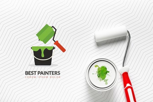 Maquete de conceito de tinta verde Psd grátis