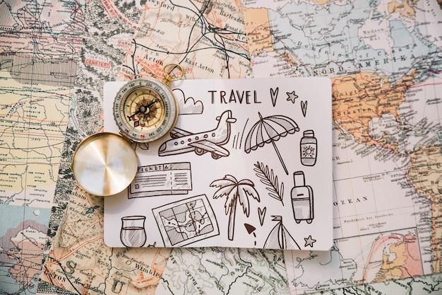 Maquete de conceito retrô viagens com papel Psd grátis