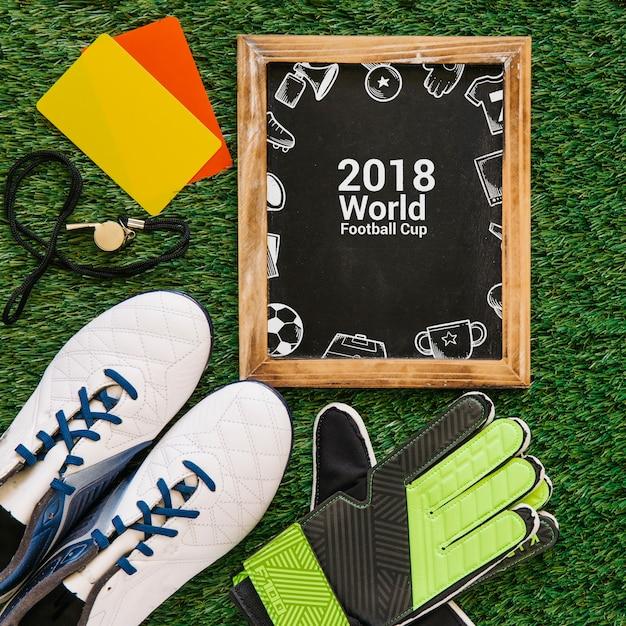 Maquete de copa do mundo de futebol com ardósia Psd grátis