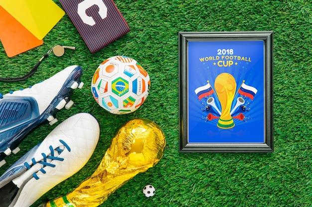 Maquete de copa do mundo de futebol com frame Psd grátis