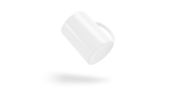 Maquete de copo cerâmico branco voando isolado Psd grátis