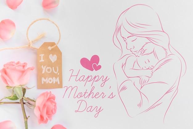 Maquete de copyspace com composição de dia plana de mães leigos Psd grátis
